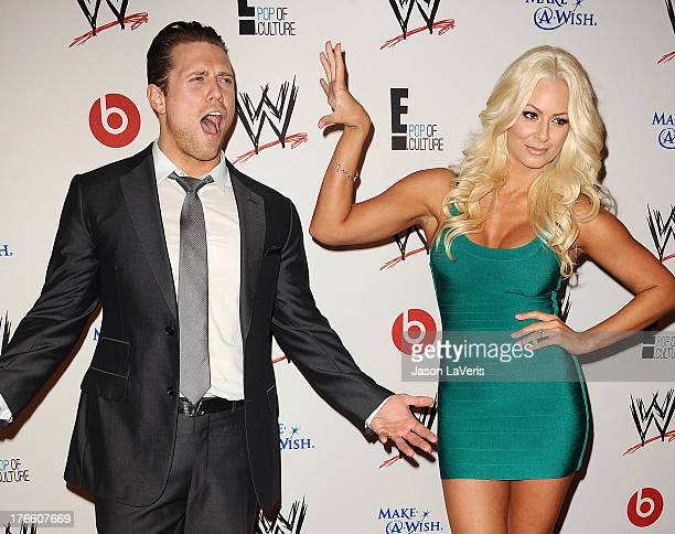 Mike The Miz Mizanin and Maryse Ouellet attend the WWE SummerSlam VIP party at Beverly Hills Hotel on August 15 2013 in Beverly Hills California