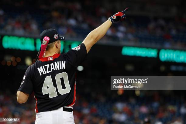 Mike 'The Miz' Mizanin prepares to bat during the AllStar and Legends Celebrity Softball Game at Nationals Park on July 15 2018 in Washington DC