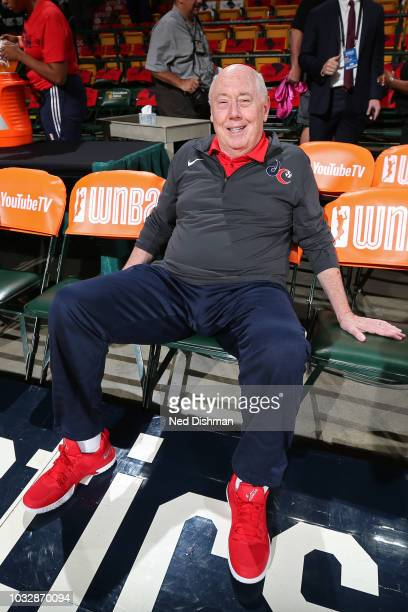 Mike Thibault of the Washington Mystics poses for a photo before Game Three of the 2018 WNBA Finals against the Seattle Storm on September 12 2018 at...