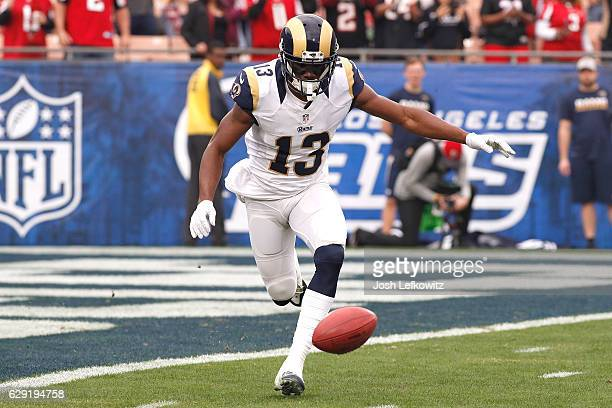 Mike Thomas of the Los Angeles Rams misses the catch on the kickoff during their game against the Atlanta Falcons at the Los Angeles Memorial...