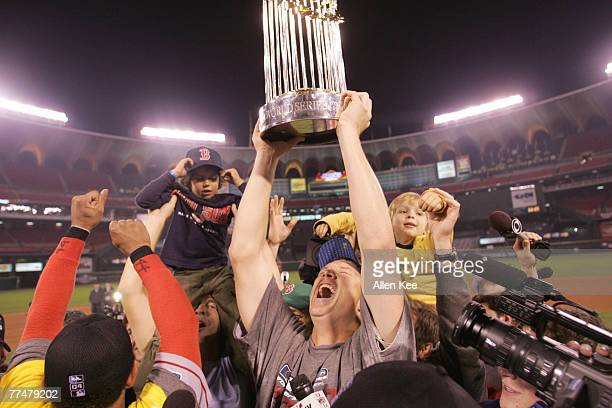 Mike Timlin celebrates after Game of the 2004 World Series between the St Louis Cardinals and the Boston Red Sox at Bush Stadium on October 27 2004...