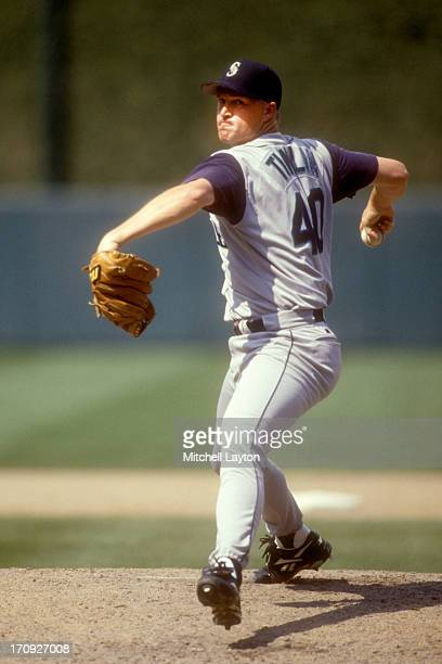 Mike Timlin of the Seattle Mariners pitches during a baseball game against the Baltimore Orioles on July 26 1998 at Camden Yards in Baltimore...