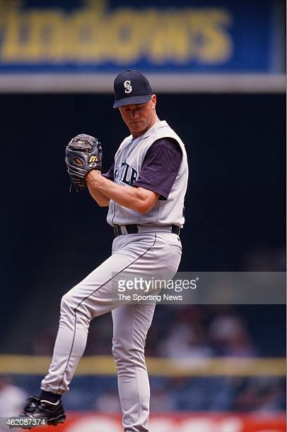 Mike Timlin of the Seattle Mariners pitches during a game against the Detroit Tigers at Comerica Park on August 9 1998 in Detroit Michigan