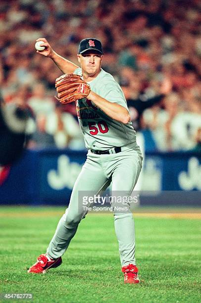 Mike Timlin of the St Louis Cardinals during Game Four of the National League Championship Series against the New York Mets on October 15 2000 at...