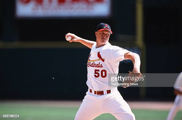Mike Timlin of the St Louis Cardinals pitches against the Los Angeles Dodgers at Busch Stadium on July 7 2002 in St Louis Missouri