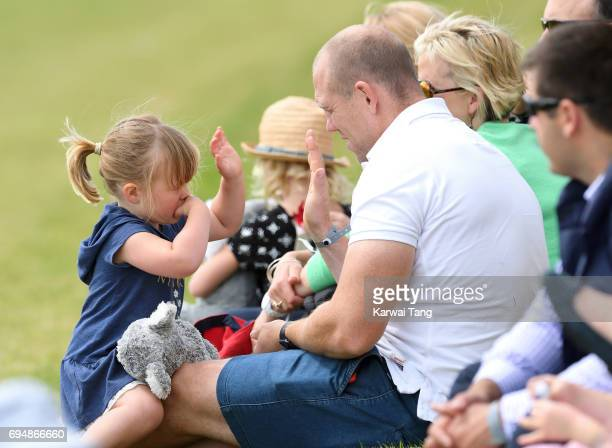 Mike Tindall and daughter Mia attend the Maserati Royal Charity Polo Trophy at Beaufort Polo Club on June 11 2017 in Tetbury England