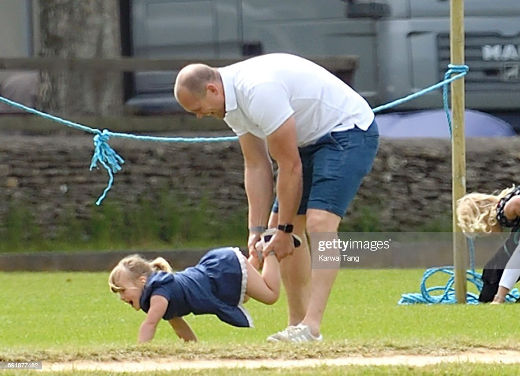 Mike Tindall and daughter Mia attend the Maserati Royal Charity Polo Trophy at Beaufort Polo Club on June 11, 2017 in Tetbury, England.