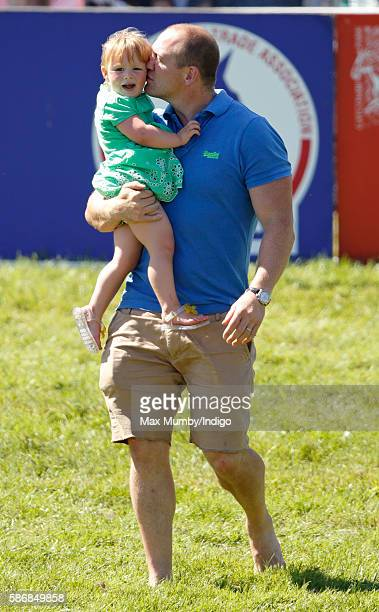 Mike Tindall and daughter Mia Tindall attend day 2 of the Festival of British Eventing at Gatcombe Park on August 6 2016 in Stroud England