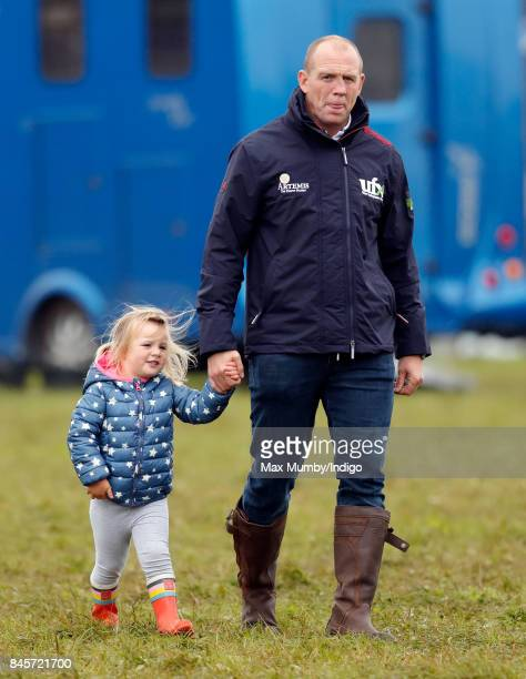 Mike Tindall and daughter Mia Tindall attend day 3 of the Whatley Manor Horse Trials at Gatcombe Park on September 10 2017 in Stroud England