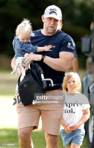 Mike Tindall and daughters Lena Tindall and Mia Tindall attend day 3 of the Whatley Manor Gatcombe International Horse Trials at Gatcombe Park on...