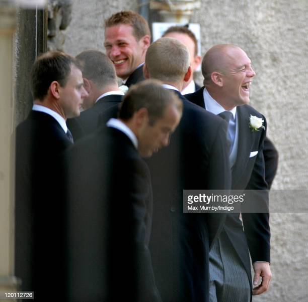 Mike Tindall and his groomsmen arrive at Canongate Kirk prior to his wedding to Zara Phillips on July 30, 2011 in Edinburgh, Scotland. The Queen's...