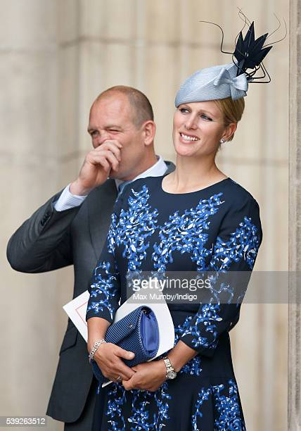 Mike Tindall and Zara Phillips attend a national service of thanksgiving to mark Queen Elizabeth II's 90th birthday at St Paul's Cathedral on June 10...