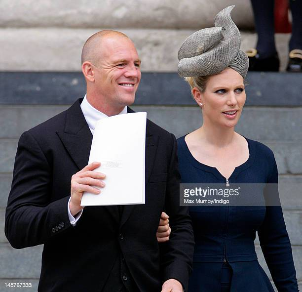 Mike Tindall and Zara Phillips attend a Service of Thanksgiving to celebrate Queen Elizabeth II's Diamond Jubilee at St Paul's Cathedral on June 5...