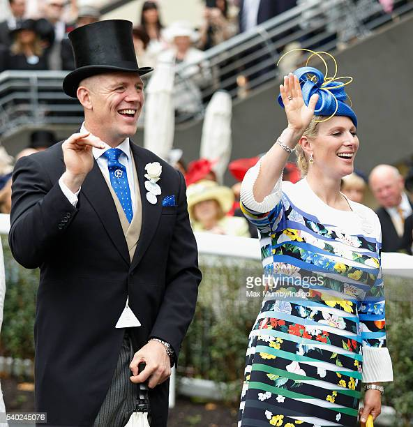 Mike Tindall and Zara Phillips attend day 1 of Royal Ascot at Ascot Racecourse on June 14 2016 in Ascot England