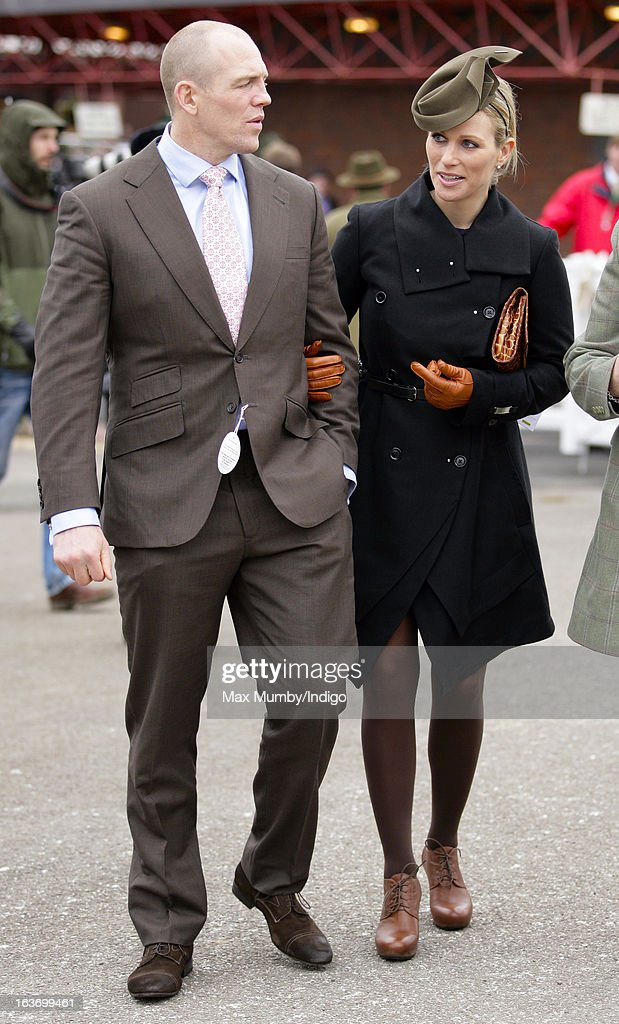 Mike Tindall and Zara Phillips attend Day 3 of The Cheltenham Festival at Cheltenham Racecourse on March 14, 2013 in London, England.