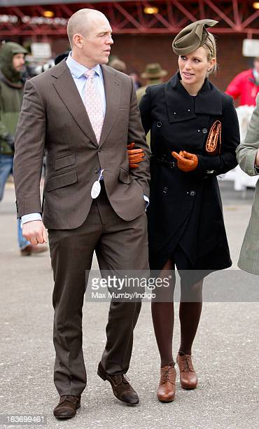 Mike Tindall and Zara Phillips attend Day 3 of The Cheltenham Festival at Cheltenham Racecourse on March 14 2013 in London England