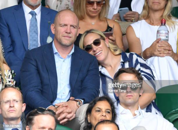 Mike Tindall and Zara Phillips attend day nine of the Wimbledon Tennis Championships at All England Lawn Tennis and Croquet Club on July 10 2019 in...
