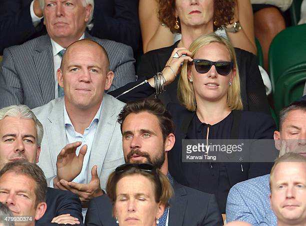 Mike Tindall and Zara Phillips attend day nine of the Wimbledon Tennis Championships at Wimbledon on July 8 2015 in London England