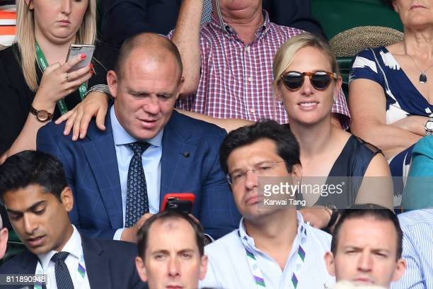 Mike Tindall and Zara Phillips attend day seven of the Wimbledon Tennis Championships at the All England Lawn Tennis and Croquet Club on July 10 2017...