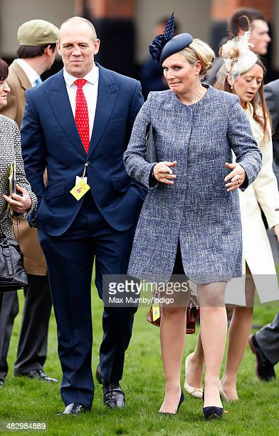 Mike Tindall and Zara Phillips attend the Crabbie's Grand National horse racing meet at Aintree Racecourse on April 5 2014 in Liverpool England