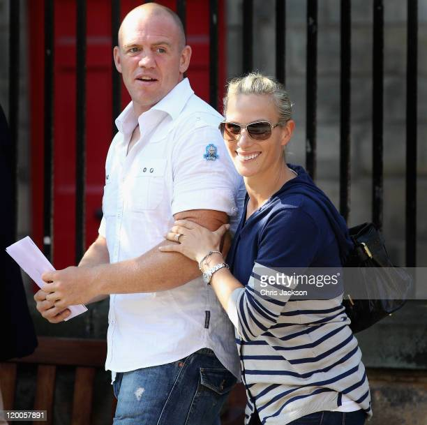 Mike Tindall and Zara Phillips leave Canongate Kirk after a wedding rehearsal on July 29, 2011 in Edinburgh, Scotland. The Queen's granddaughter Zara...