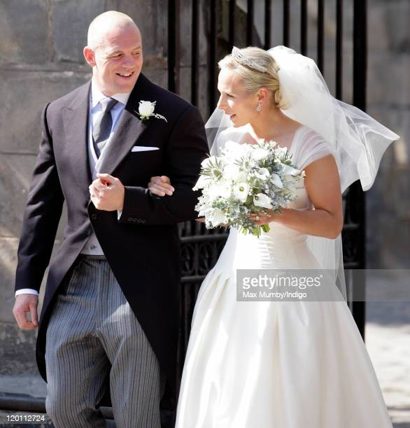 Mike Tindall and Zara Phillips leave Canongate Kirk after their wedding on July 30, 2011 in Edinburgh, Scotland. The Queen's granddaughter Zara...