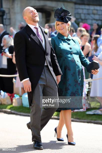 MIke Tindall and Zara Tindall arrive at St George's Chapel at Windsor Castle before the wedding of Prince Harry to Meghan Markle on May 19 2018 in...