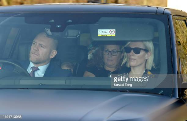 Mike Tindall and Zara Tindall attend Christmas Lunch at Buckingham Palace on December 18, 2019 in London, England.