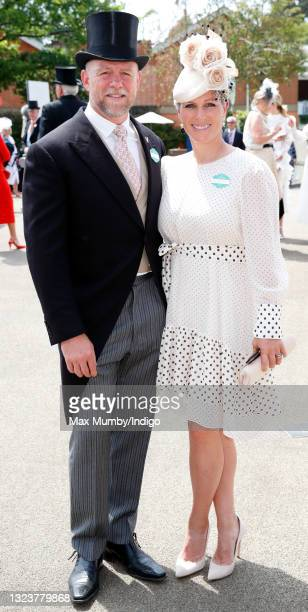 Mike Tindall and Zara Tindall attend day 1 of Royal Ascot at Ascot Racecourse on June 15, 2021 in Ascot, England.