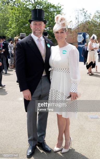 Mike Tindall and Zara Tindall attend day one of Royal Ascot 2021 at Ascot Racecourse on June 15, 2021 in Ascot, England.