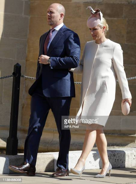 Mike Tindall and Zara Tindall attend Easter Sunday service at St George's Chapel on April 21 2019 in Windsor England