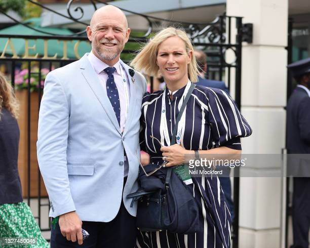 Mike Tindall and Zara Tindall attend Wimbledon Championships Tennis Tournament Day 9 at All England Lawn Tennis and Croquet Club on July 07, 2021 in...