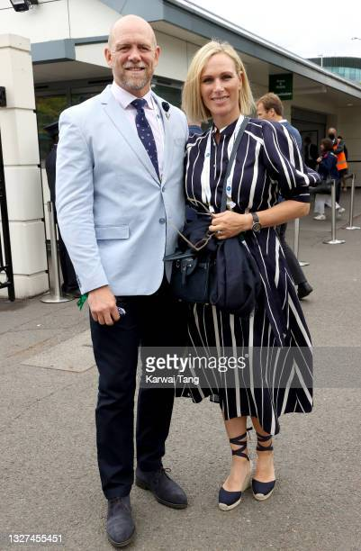 Mike Tindall and Zara Tindall attend Wimbledon Championships Tennis Tournament at All England Lawn Tennis and Croquet Club on July 07, 2021 in...