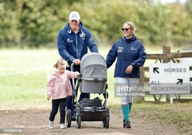 Mike Tindall and Zara Tindall with their daughters Mia Tindall and Lena Tindall attend day 3 of the Whatley Manor Horse Trials at Gatcombe Park on...