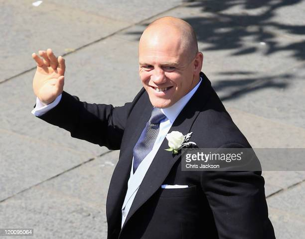 Mike Tindall arrives at Canongate Kirk on the afternoon of the wedding of Mike Tindall and Zara Philips on July 30 2011 in Edinburgh Scotland The...