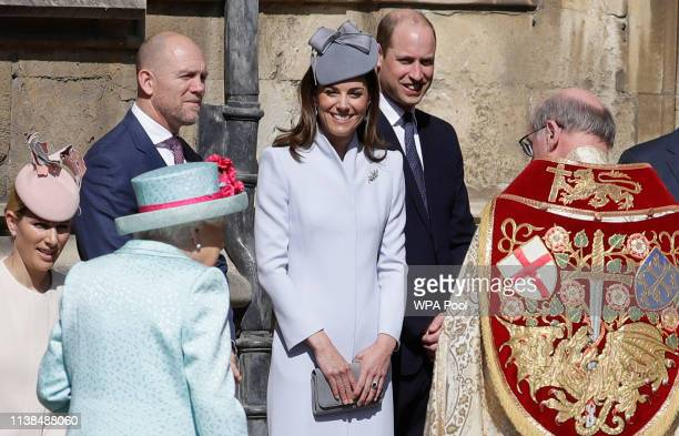 Mike Tindall Catherine Duchess of Cambridge and Prince William Duke of Cambridge greet Queen Elizabeth II as she arrives for the Easter Sunday...