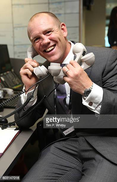 Mike Tindall making a trade at BGC Annual Global Charity Day at Canary Wharf on September 12 2016 in London England