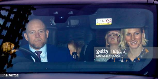 Mike Tindall, Mia Tindall and Zara Tindall attend a Christmas lunch for members of the Royal Family hosted by Queen Elizabeth II at Buckingham Palace...