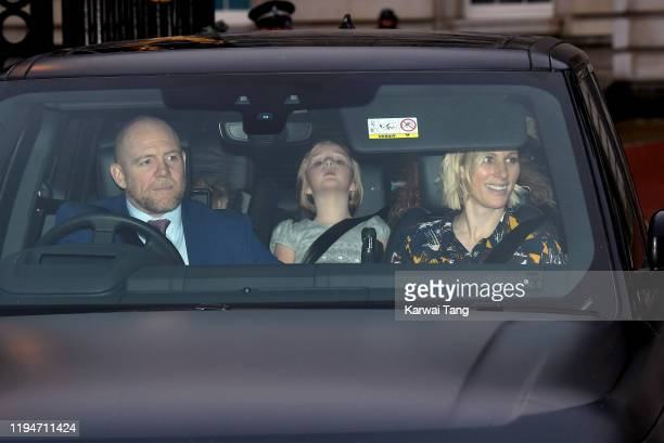 Mike Tindall, Mia Tindall and Zara Tindall attend Christmas Lunch at Buckingham Palace on December 18, 2019 in London, England.