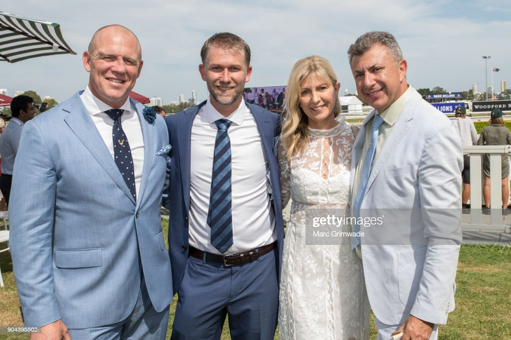 Mike Tindall, Nick Rainey and Noni and John Calleija attend Magic Millions Raceday on January 13, 2018 in Gold Coast, Australia.