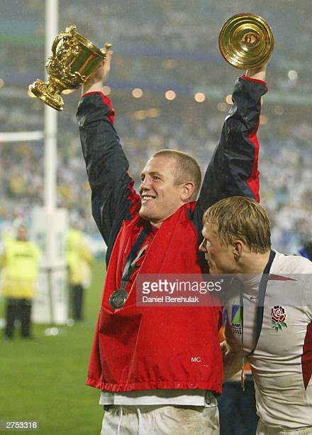 Mike Tindall of England celebrates after England won the Rugby World Cup Final match between Australia and England at Telstra Stadium November 22,...