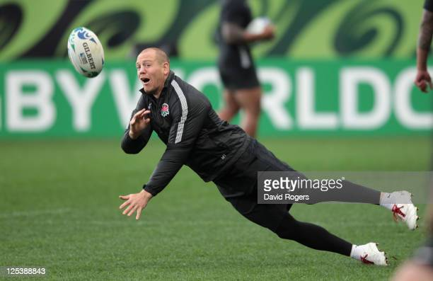 Mike Tindall passes the ball during an England IRB Rugby World Cup 2011 training session at Otago Stadium on September 17, 2011 in Dunedin, New...