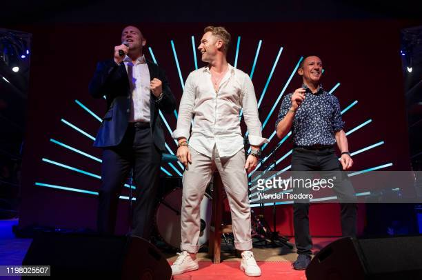 Mike Tindall, Ronan Keating and Frankie Dettori attend the 2020 Magic Millions Launch Party at Surfers Paradise Foreshore on January 07, 2020 in Gold...