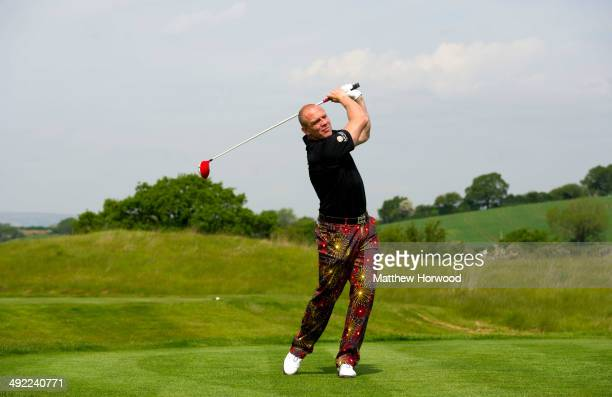 Mike Tindall tees off during the Mike Tindall Celebrity Golf Classic in support of Rugby for Heroes and the On Course Foundation at Celtic Manor...