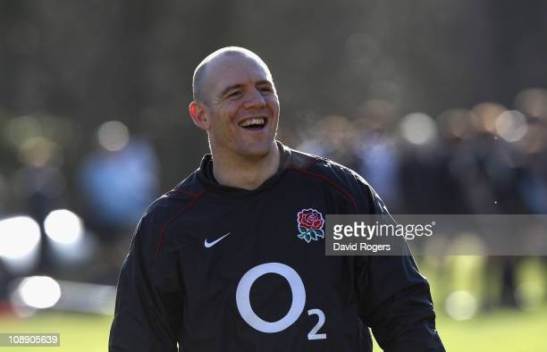 Mike Tindall the England captain smiles during the England training session held at the Pennyhill Park hotel on February 8 2011 in Bagshot England