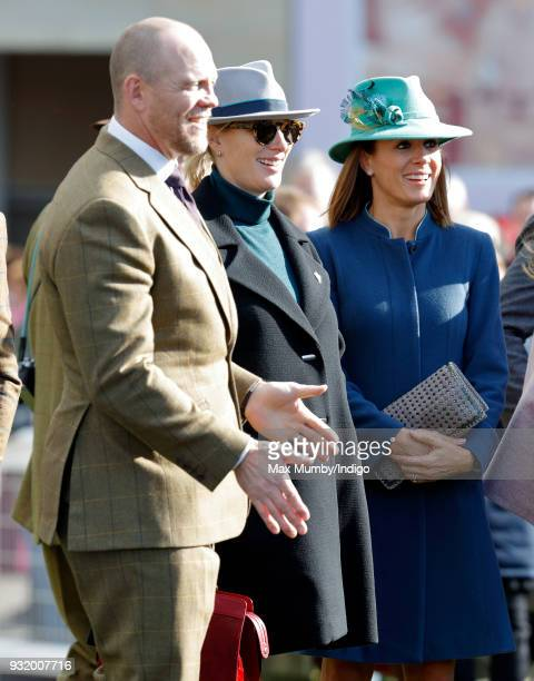 Mike Tindall Zara Phillips and Natalie Pinkham attend day 1 'Champion Day' of the Cheltenham Festival at Cheltenham Racecourse on March 13 2018 in...