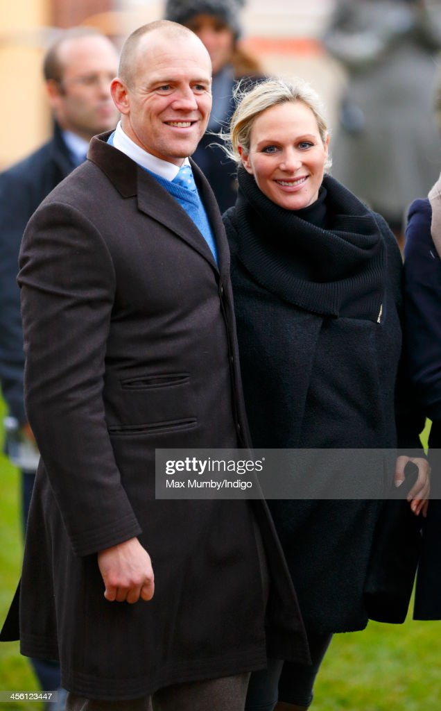 Mike Tindall & Zara Phillips stand in the winners enclosure after Monbeg Dude (owned by Mike Tindall) won the Majordomo Hospitality Handicap Steeple Chase at The International meeting at Cheltenham Racecourse on December 13, 2013 in Cheltenham, England.