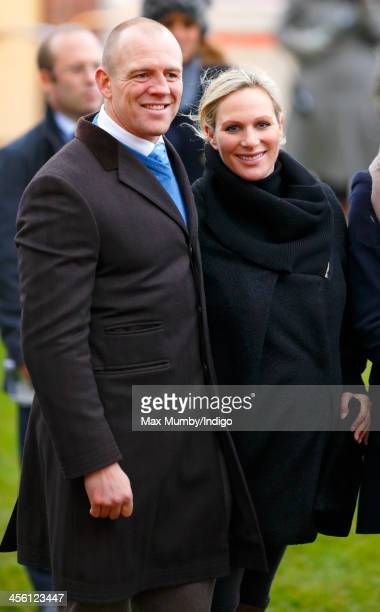 Mike Tindall Zara Phillips stand in the winners enclosure after Monbeg Dude won the Majordomo Hospitality Handicap Steeple Chase at The International...
