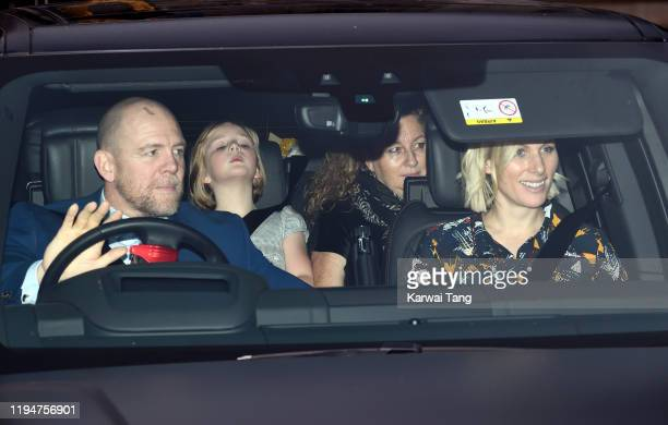 Mike Tindall Zara Tindall and daughter Mia Grace Tindall attend Christmas Lunch at Buckingham Palace on December 18 2019 in London England