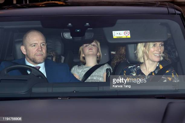 Mike Tindall, Zara Tindall and daughter Mia Grace Tindall attend Christmas Lunch at Buckingham Palace on December 18, 2019 in London, England.
